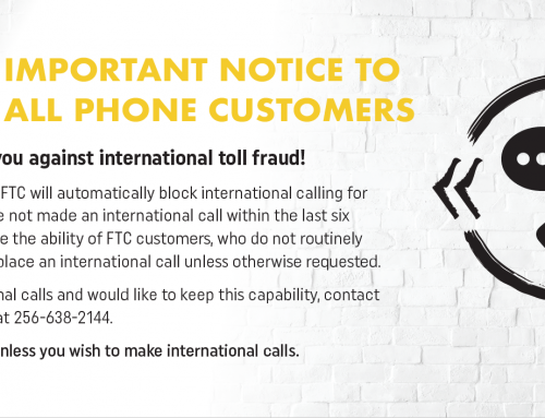 IMPORTANT NOTICE TO ALL PHONE CUSTOMERS